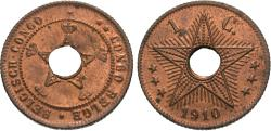 World Coins - Belgian Congo. 1910. 1 centime. Unc., mostly red.