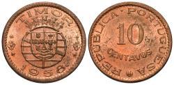 World Coins - Timor. 1958. 10 centavos. Choice BU, red.