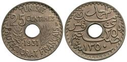 World Coins - Tunisia, French Protectorate. Ahmad Pasha Bey. AH 1350 / 1931-(a). 25 centimes. Unc.