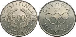 World Coins - Finland. 1952 H. 500 Markkaa. 15th Olympiad. BU, toned.