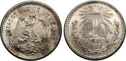 World Coins - Mexico. 1907 (curved 7). 20 centavos. AU.