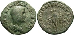 Ancient Coins - Maximus. Caesar, A.D. 235-238. Æ sestertius. Rome, A.D. 236-237. Good Fine, green patina, reverse a little rough.