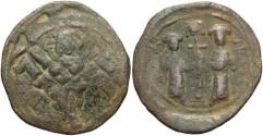 Ancient Coins - Constantine X Ducas. 1059-1067. Æ follis. Constantinople. Near VF, brown-green patina. Overstruck on an anonymous follis.