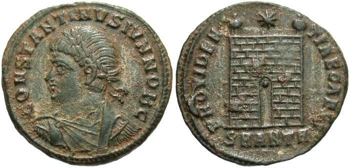 Ancient Coins - Constantine II. As Caesar, A.D. 317-337. Æ follis. Antioch, A.D. 330-334. VF, earthen green patina, a couple of small deposits on reverse.