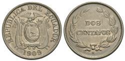 World Coins - Ecuador. 1909-H. 2 centavos. AU, cleaned.
