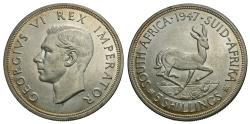 World Coins - South Africa. George VI. 1947. 5 shillings. AU, one-year type.