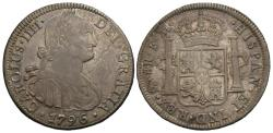 World Coins - Mexico, Colonial. Carlos IV. 1796-Mo FM. 8 reales. EF, toned, obverse die-break.