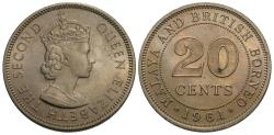 World Coins - Malaya & British Borneo. Elizabeth II. 1961-H. 20 cents. BU, lightly toned.
