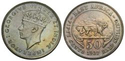 World Coins - East Africa. George VI. 1937-H. 50 cents. Unc.