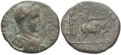 Ancient Coins - Phoenicia, Tyre. Elagabalus. A.D. 218-222. Æ. Good Fine, brown-green patina. Unpublished in the standard references.