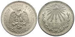 World Coins - Mexico, United States of Mexico. 1924. 1 peso. Choice BU.