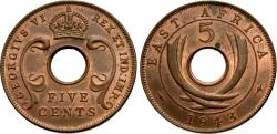 World Coins - East Africa. George VI. 1943-SA. 5 cents. AU.