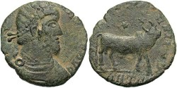 Ancient Coins - Julian II. A.D. 360-363. Æ maiorina. Contemporary imitation. Copying Antioch. Good Fine, sandy green patina.