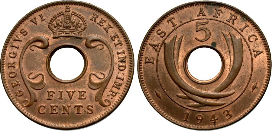 World Coins - East Africa. George VI. 1943-SA. 5 cents. AU.