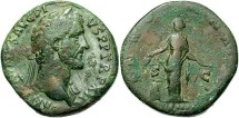 Ancient Coins - Antoninus Pius. A.D. 138-161. Æ Sestertius. Rome, A.D 148-149. VF, mottled dark green and brown patina.