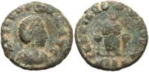 Ancient Coins - Aelia Eudoxia. Augusta, A.D. 400-404. Æ. Fine, desert patina.