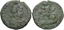 Ancient Coins - Theodosius I. A.D. 379-395. Æ. Antioch. Good Fine, green patina.