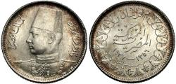 World Coins - Egypt. AH 1356 (1937). 2 piastres. Unc, light hairlines.
