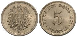 World Coins - Germany, Empire. 1875-F. 5 pfennig. Choice BU.