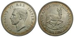 World Coins - South Africa. George VI. 1947. 5 shillings. Unc., peripheral toning.