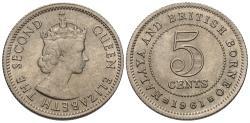World Coins - Malaya & British Borneo. Elizabeth II. 1961. 5 cents. Choice BU.
