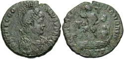 Ancient Coins - Theodosius I. A.D. 379-395. Æ. Antioch. Good Fine, green patina.