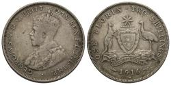 World Coins - Australia. George V. 1916-M. 1 florin. VG, scratches.