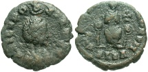 Ancient Coins - Aelia Eudoxia. Augusta, A.D. 400-404. Æ. Alexandria. Fine, dark green-brown patina.