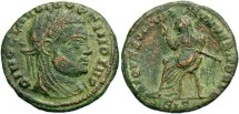 Ancient Coins - Divus Claudius II Gothicus. Died A.D. 270. Æ. Commemorative issue. Siscia, under Constantine I, A.D. 317/8. VF, brown and earthen green patina, scratches in field of reverse.