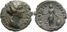 Ancient Coins - Faustina II. Augusta, A.D. 147-175. Æ dupondius or as. Rome, ca. A.D. 154-157. VF, dark brown patina, porous.