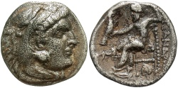 Ancient Coins - Macedonian Kingdom. Alexander III 'the Great'. 336-323 B.C. AR drachm. Abydos, ca. 310-301 B.C. VF, dark toning, light deposits, old scratch on reverse.