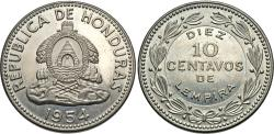 World Coins - Honduras. 1954. 10 centavos. Choice BU, key date.