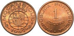 World Coins - Mozambique. Portugese Colony. 1957. 1 escudo. Choice Unc.