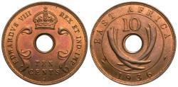 World Coins - East Africa. Edward VIII. 1936-H. 10 cents. Choice Unc.