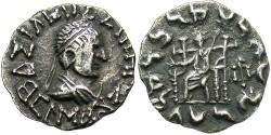 Ancient Coins - Indo-Greek Kingdom. Hermaios. Ca. 90-70 B.C. AR drachm. Posthumous imitation. Good VF, toned.