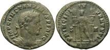 Ancient Coins - Constantine I. As Caesar, A.D. 306-307. Æ follis. Treveri, A.D. 307/8. Fine, green patina, porous.