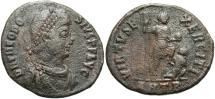 Ancient Coins - Theodosius I. A.D. 379-395. Æ. Antioch. Near VF, brown patina, light porosity.