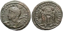 Ancient Coins - Constantine I. A.D. 307/10-337. Æ follis. Ticinum, A.D. 318-319. Fine, rough brown surfaces.