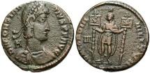 Ancient Coins - Constantius II. A.D. 337-361. Æ centenionalis. Siscia, under Vetranio, A.D. 350. VF, brown patina.