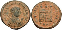 Ancient Coins - Licinius II. Caesar, A.D. 317-324. Æ follis. Heraclea, A.D. 318-320. VF, dark brown patina with heavy earthen deposits.