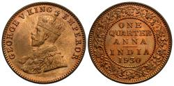 World Coins - British India. George V. 1930-(b). 1/4 anna. Choice BU.