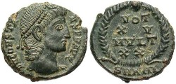 Ancient Coins - Constans. A.D. 337-350. Æ nummus. Antioch, A.D. 347/8. Good VF, dark green patina with light earthen highlights.