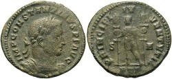 Ancient Coins - Constantine I. As Caesar, A.D. 306-307. Æ follis. Treveri, A.D. 307/8. Fine, green patina, porous.