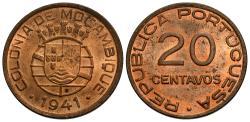 World Coins - Mozambique. 1941. 20 centavos. BU, red.