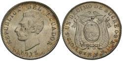 World Coins - Ecuador. 1915-BIRMm. 1 decimo. Gem BU.
