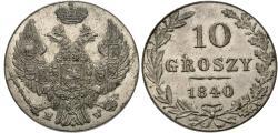 World Coins - Poland. 1840-MW. 10 grozy. Choice AU.