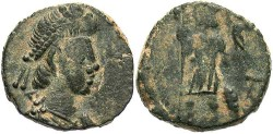 Ancient Coins - Arcadius, Honorius or Theodosius II. Late 4th-early 5th century A.D. Æ 12 mm. Rome. Fine, dark green-brown patina with light deposits. Scarce.