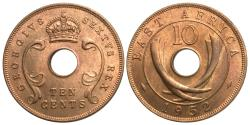 World Coins - East Africa. George VI. 1952. 10 cents. Choice BU, red.