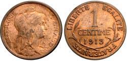 World Coins - France, Third Republic. 1913. 1 centime. BU.