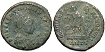 Ancient Coins - Valentinian II. A.D. 375-392. Æ. Antioch. VF, dark brown patina with earthen green highlightds.